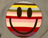 Upcycled Eco Sustainable Acid Smiley Jumper - Recycled Rainbow Stripy Merino Sweater - Womens M Medium