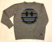 Upcycled Eco Sustainable Acid Smiley Jumper - Recycled Rainbow Stripy Sweater in Lambswool - Mens Womens Unisex L Large
