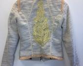 White Cotton & Gold Upcycled Spring Jacket XS / Customised Statement Jacket / Wedding Jacket XS