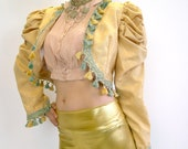 Big Shoulder Statement Festival Jacket with Gold Leopard Tassel Baroque Matador