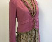 Women's Customised Festival Pompom Jacket / Sequin Leopard Jacket / Pink Blazer / Gold Sequin Leopard Jacket / Festival Blazer UK 8