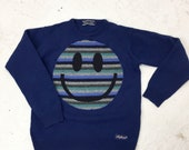 Upcycled Eco Sustainable Acid Smiley Jumper - Recycled Rainbow Stripy Sweater in Wool -Mens Womens Unisex S Small