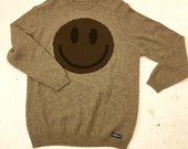 Upcycled Eco Sustainable Acid Smiley Jumper - Recycled Sweater in Wool - Mens Women's Unisex L Large