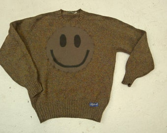 Upcycled Eco Sustainable Acid Smiley Liberty Jumper - Recycled Sweater in Wool - Mens Women's Unisex L Large
