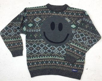 Upcycled Eco Luxury Sustainable Acid Smiley Jumper - Recycled  1980's Cotton Sweater - Mens Women's Unisex XL Extra Large