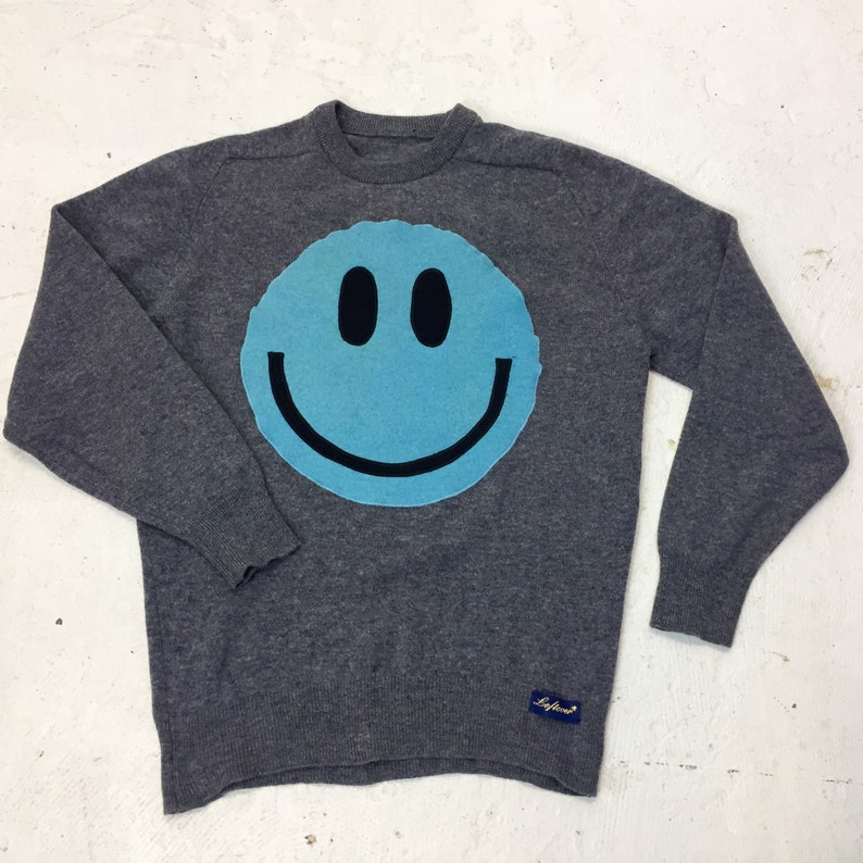 Upcycled Eco Sustainable Acid Smiley Jumper  Recycled image 0