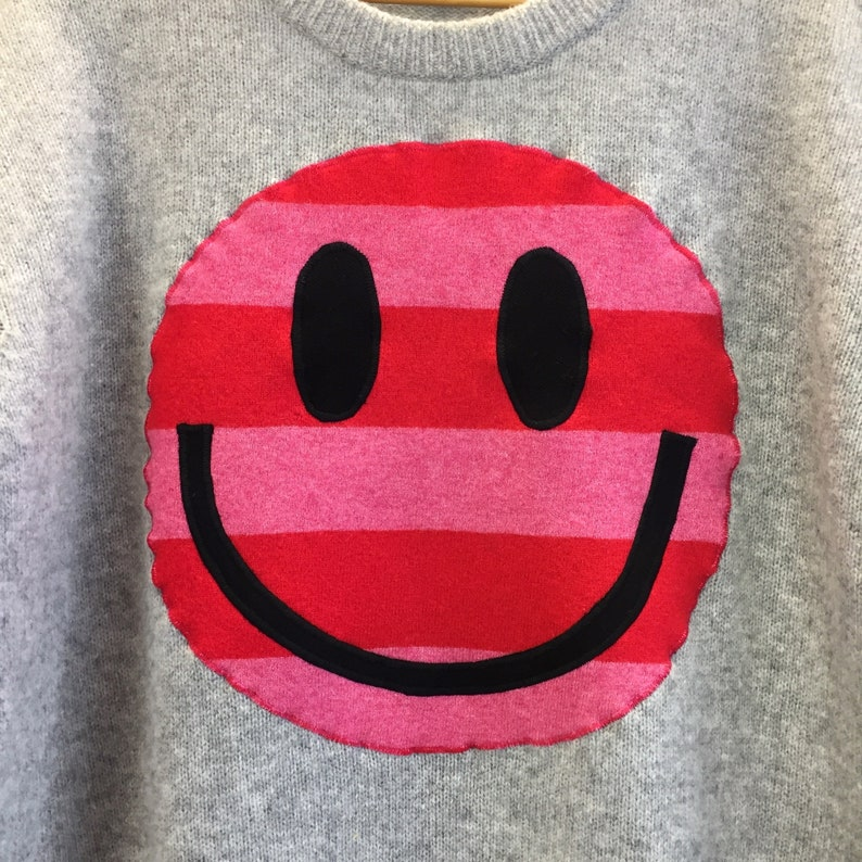 Upcycled Eco Sustainable Acid Smiley Jumper Recycled Pink image 0