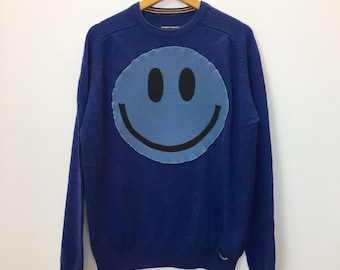 Upcycled Eco Luxury Sustainable Acid Smiley Jumper- Recycled Wool Sweater Mens Womens Unisex L Large