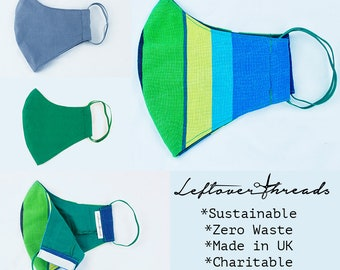 Eco Sustainable Upcycled Organic Three Layer Face Mask with Filter Pocket with FREE FILTER size M-L