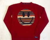 Upcycled Eco Sustainable Acid Smiley Jumper- Recycled Rainbow Stripy Vintage Lambswool Sweater.  Mens Womens Unisex S Small