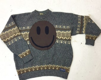 Upcycled Eco Luxury Sustainable Acid Smiley Jumper - Recycled  1980's Wool Sweater - Mens Women's Unisex XL Extra Large