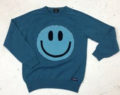 Upcycled Eco Sustainable Acid Smiley Jumper - Recycled Wool Sweater - Mens Women's M Medium