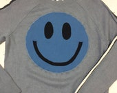 Upcycled Eco Sustainable Acid Smiley Jumper - Recycled Silk Cashmere Sweater - Mens Womens Unisex M Medium