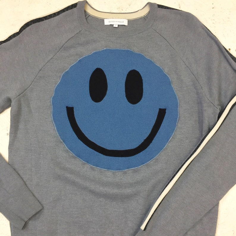 Upcycled Eco Sustainable Acid Smiley Jumper  Recycled Silk image 0