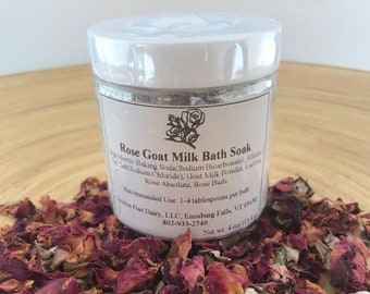 Luxurious Rose Goat Milk Bath Soak 4 oz. Relaxing bath spa. Great gift for Mother's Day, Gift for her, Bridesmaid gift