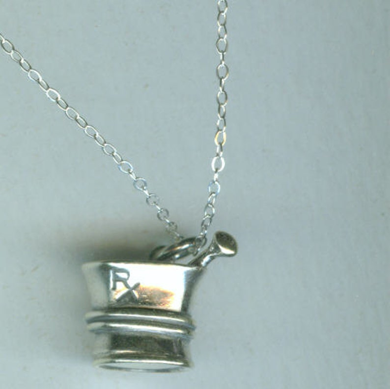 7b31117d71ee1 Sterling Silver PHARMACIST Pendant and Chain- 3D - Mortar & Pestle