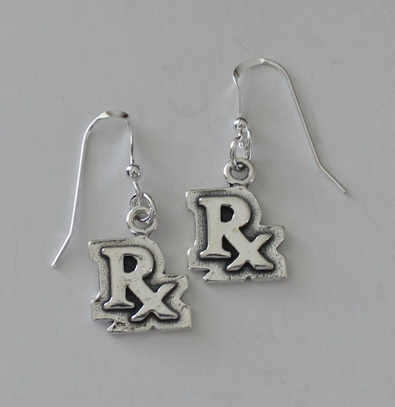 45bd04f0a1450 Sterling Silver RX Earrings - Medical, Pharmacist, Drugs