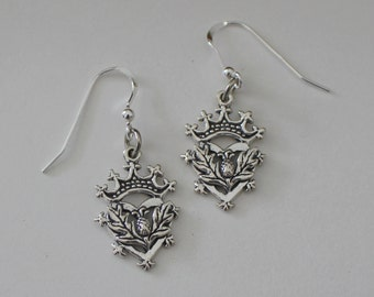 Sterling Silver Celtic CROWN & THISTLE Earrings -
