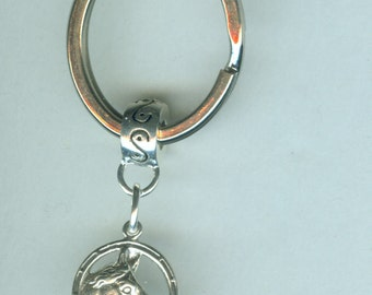Sterling HORSE in HORSE SHOE  Key Ring, Key Chain -