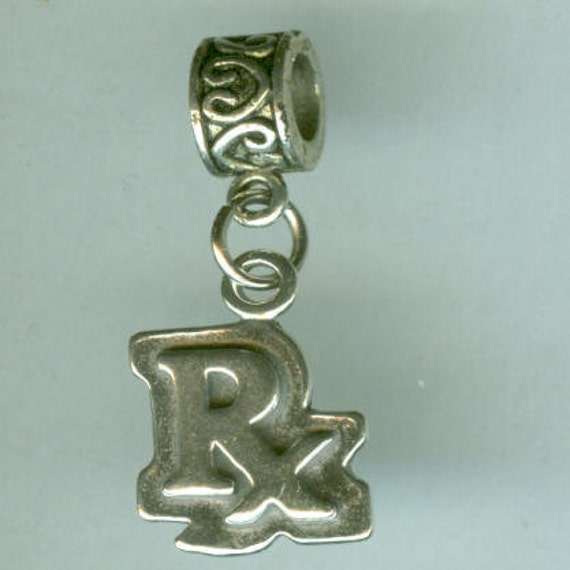 Sterling PHARMACIST Bead Charm for All Name Brand Add a Bead Charm Bracelets 3D