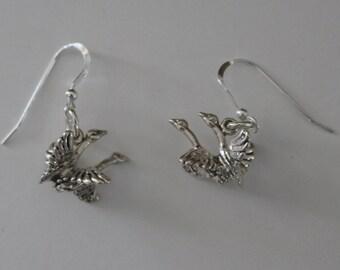 Earrings - Sterling 3D FLYING GEESE - Wildlife, Bird