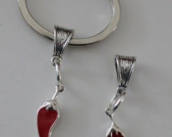 Sterling CHILI PEPPER Key Ring -   Food, Mexican, Southwest