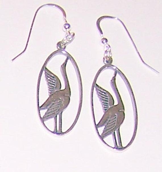 Sterling Silver Heron Bird Earrings Avian Wildlife Totem Etsy