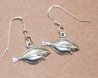 Earrings - Sterling Silver FISH - Fishing, Food, Watersports - Halibut