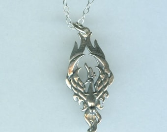 Sterling PHOENIX Pendant AND Chain