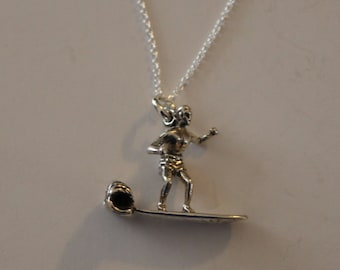 Sterling 3d MALE SURFER Pendant and 20 Inch Chain - Watersports