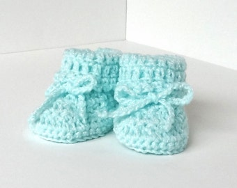 """Pastel Green Baby Booties - Size 6 to 9 months (4""""-4 1/4"""" sole) - Hand Crocheted - READY TO SHIP"""