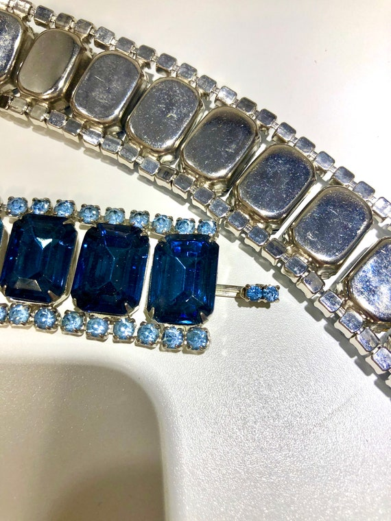 OOAK Stunning Vintage 50s Statement Blue Glass Rh… - image 7