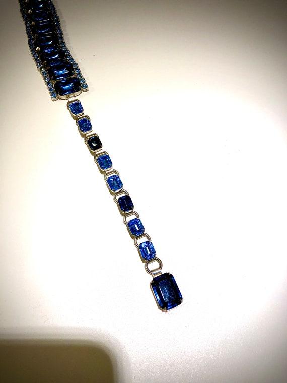 OOAK Stunning Vintage 50s Statement Blue Glass Rh… - image 5