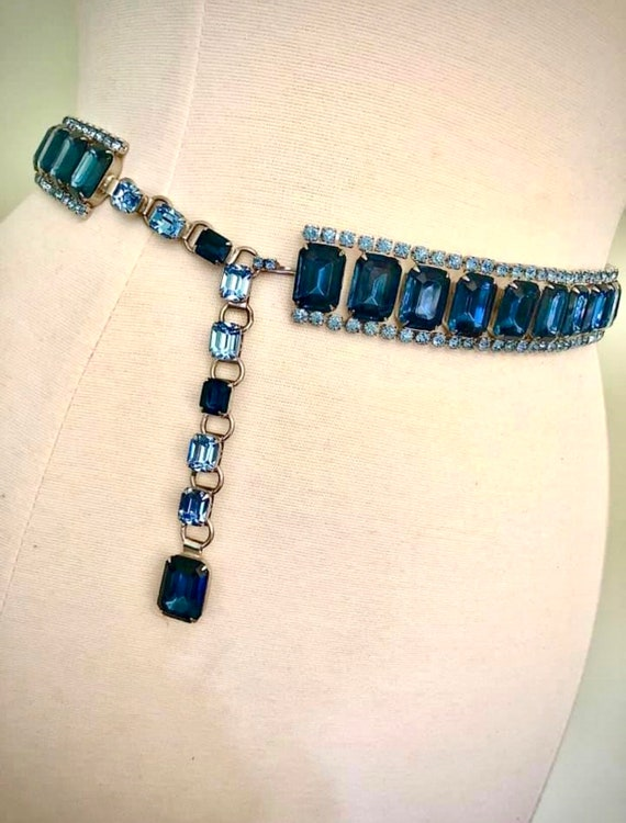 OOAK Stunning Vintage 50s Statement Blue Glass Rh… - image 9
