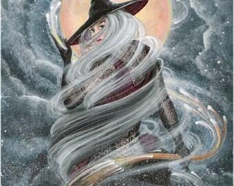 "Halloween Folk Art Swirling Witch Broom Print ""Conjuring""  Moon Byrum Art HAGUILD"
