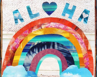 Top Seller!! ALOHA RAINBOW, NEW 8x10, 11x14, 16x20, Hawaii, Hand-Signed matted print, Hawaii art, beach art, ocean, Rainbow, heart, cloud, a