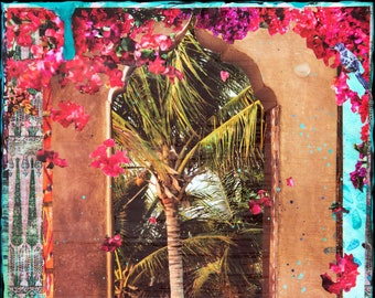 NEW GLASSED, Faraway Places, 4x4 and Up, Best Seller, Hand Painted, Hand Glassed artwork, wood panel, ocean, wall art, gift, travel, exotic