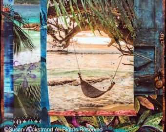 NEW! GLASSED, SOJOURN, 4x4 and Up, Hand Painted, Hand Glassed artwork, wood panel, travel, hammock, water, palm trees, tile, collage, ocean