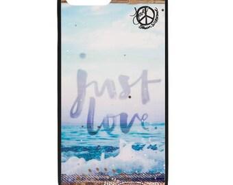 NEW iPhone 8/8+ Case, JUST LOVE, Best Seller, Love, Beach, Surf, Surf Art, Tropical, Ocean, Art, black case color, Apple iPhone