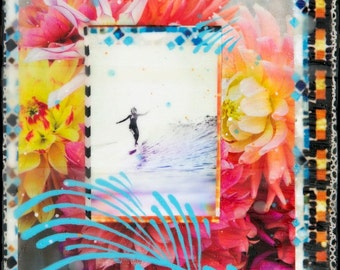 GLASSED, RADIATE, Kassia Meador, 4x4 and Up, Hand Painted, re-collaged artwork, surf, wood panel, Dahlias, Flowers, Ocean,wall art, gift