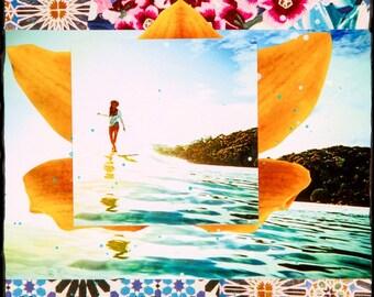 ORIGINAL, Bloom Lauren Hill, Best Seller, Oil and Encaustic Collage, One of a Kind, 6x6, artwork, wood panel, Collector's item, Surf Art,art