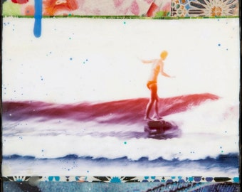 GLASSED, INDIGO SEAS, Best Seller, 4x4 and Up, Belinda Baggs, Hand Painted, re-collaged artwork, wood panel, ocean, surfing, wall art, gift
