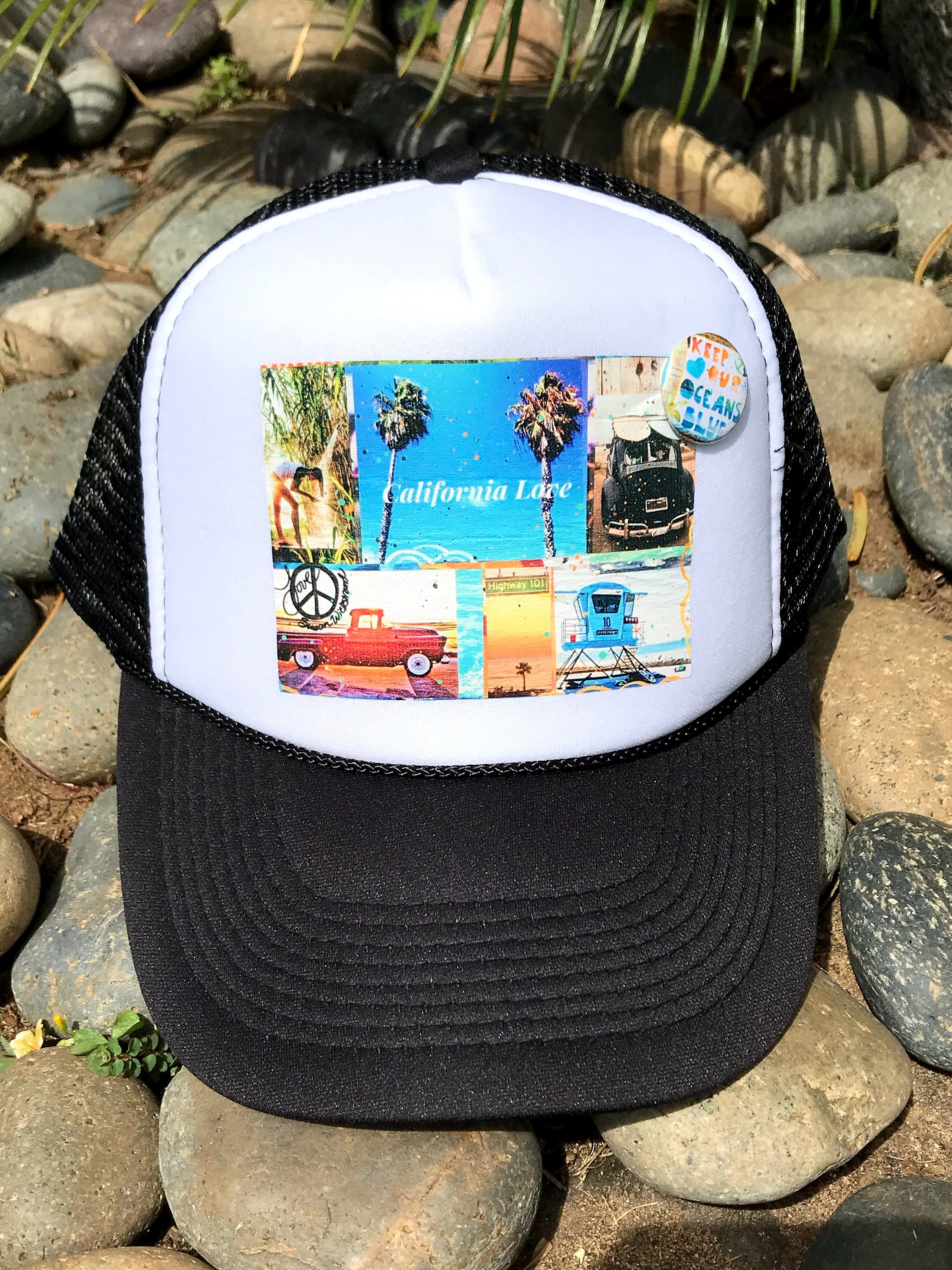 Trucker Hats, CALIFORNIA LOVE, limited ed  with custom made Pin Back  button, One Size Fits All, foam trucker hat, Beach, Surf, Ocean, truck