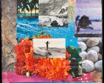 WATER DANCE, Giclee 8x8 and Up, Hawaii. Polynesia, Print on Canvas, wall art. glicee. surf art, home decor, flowers, shells
