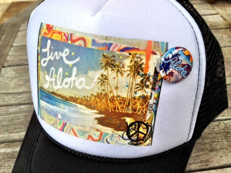Trucker Hats, ALOHA, limited ed  with custom made Pin Back button, One Size  Fits All, black foam trucker hat, Hawaii, Aloha, Best Seller
