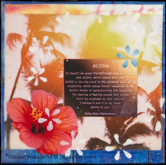 Hawaii Hibiscus wood panel surf art 4x4 and Up ALOHA Hawaiian Art,Wickstrand Hand Painted re-collaged artwork Diamond Head GLASSED