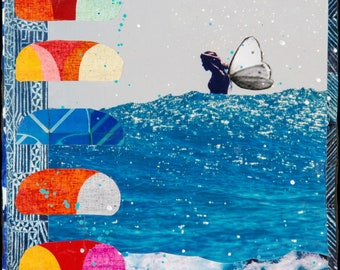NEW! GLASSED, JAYSEA Fly, 4x4 and Up, サーフ, Hand Painted, Hand-Glassed collaged artwork, wood panel, ocean, surfer, art, butterfly