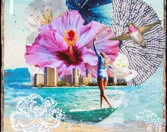 NEW! GLASSED, JAYSEA Slide, 4x4 and Up, サーフ, Hand Painted, Hand-Glassed collaged artwork, wood panel, ocean, surfing, art,Hawaii,Hummingbird