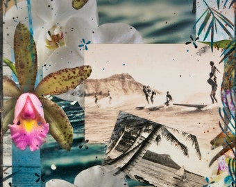 Diamond Head Dreams, Glicee, 8x8 and Up, Ocean, Hawaii, travel, Orchids, green, sienna, ocean art, tandem surfing, waikiki, Diamond Head