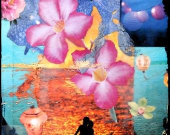 INDIAN SUMMER, Best Seller, 8x10, 11x14, 16x20, Hand Signed Matted Print, Summertime, Ocean, Summer, Swimming, Lanterns, Flowers, wall art